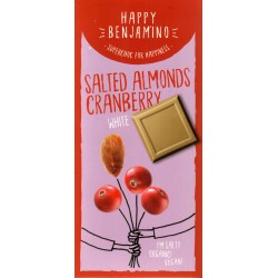 Biela čokoláda slané mandle, brusnice