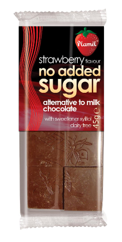 Čokoláda bez cukru jahodová