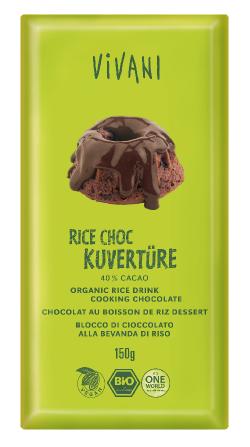 Ryžová čokoláda na polevu 40% kakao